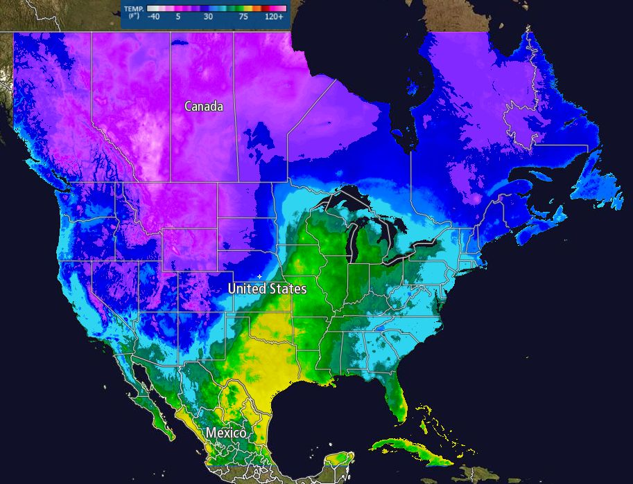 Socalmountains Forums Weather Discussion North America: Temperature Map North America At Codeve.org